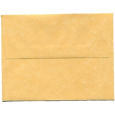 JAM Paper® A2 Invitation Envelopes, 4.38 x 5.75, Parchment Antique Gold Yellow Recycled, 250/Pack (55574H)