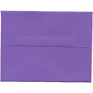 JAM Paper® A2 Invitation Envelopes, 4.38 x 5.75, Brite Hue Violet Purple Recycled, 250/Pack (80252H)