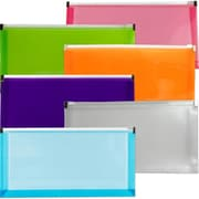 "JAM Paper #10 (5"" x 10"") Assorted Colors Zip Closure Envelope, 6/Pack"
