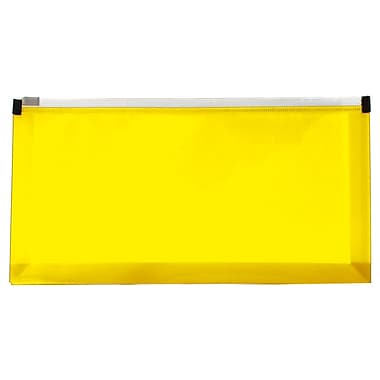 JAM Paper® #10 Plastic Envelopes with Zip Closure, 5 x 10, Yellow Poly, 12/Pack (921Z1YE)