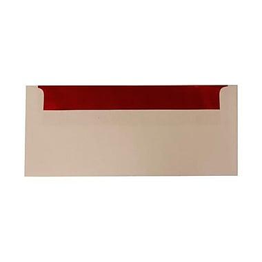 JAM Paper – Enveloppes n° 10 (4,13 x 9,5 po), doublure dorée, rouge et blanc, 500/bte