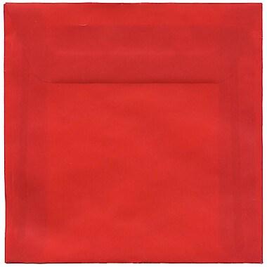 JAM Paper® 6 x 6 Square Envelopes, Red Translucent Vellum, 50/Pack (PACV515I)