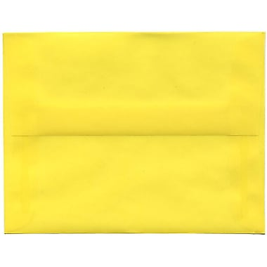 JAM Paper® A2 Invitation Envelopes, 4.38 x 5.75, Yellow Translucent Vellum, 50/Pack (PACV606I)
