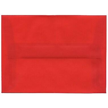 JAM Paper® A6 Invitation Envelopes, 4.75 x 6.5, Red Translucent Vellum, 50/Pack (PACV655I)