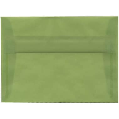 JAM Paper® A7 Invitation Envelopes, 5.25 x 7.25, Leaf Green Translucent Vellum, 50/Pack (PACV703I)