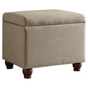 HomePop Upholstered Storage Cube Ottoman; Tan