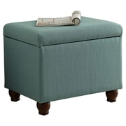 HomePop Upholstered Storage Cube Ottoman; Aqua