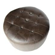 Elegant Home Fashions Arlington Leather Ottoman; Dark Brown