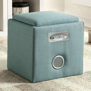 Hokku Designs Reverb Cube Ottoman with Bluetooth Speakers; Gray