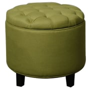 New Pacific Direct Avery Round Tufted Storage Ottoman; Lime