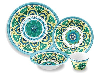 TarHong Chelsea Medallion Melamine 16 Piece Dinnerware Set