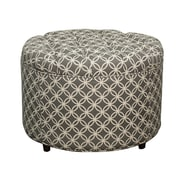 New Pacific Direct Allison Round Tufted Storage Ottoman; Coins Gray