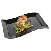 Fineline Settings, Inc Wavetrends Rectangle Salad Plate (Pack of 120); Black