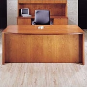 High Point Furniture Forte Full Double Pedestal Bow Front Executive Desk with 4 File; Honey Cherry