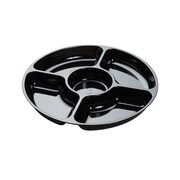 Fineline Settings, Inc Platter Pleasers 5 Divided Serving Dish (Set of 24); Black