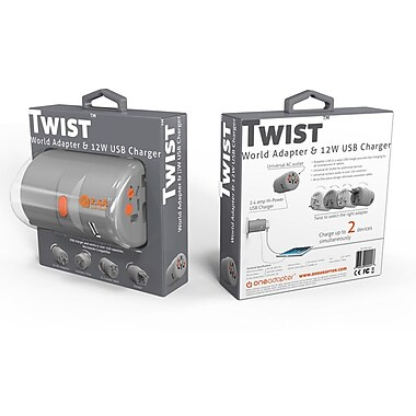 Oneadaptr Twist™ 12W 4Amp World Adapter w. 4 USB Outlets, Grey (PA-OAK-2GY)