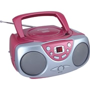 Sylvania SRCD243M Portable CD Boom Box With AM/FM Radio, Pink