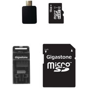 Gigastone microSDHC Class 10 UHS-1 Memory Card with USB, Micro USB and microSD Adapters, 16GB