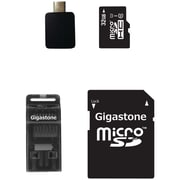 Gigastone microSDHC Class 10 UHS-1 Memory Card with USB, Micro USB and microSD Adapters, 32GB