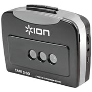 ION® Tape 2 Go Portable Digital Conversion Cassette Player, Black/Silver