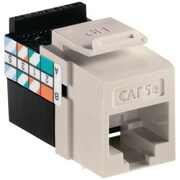 Leviton® QuickPort® GigaMax Cat 5e Channel-Rated Keystone Jack Connector, Light Almond