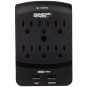 Monster® Core Power® 650 Wall Outlet Surge Protector With 2 USB Ports, 6-Outlet, Black