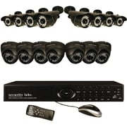 Security Labs 16 Channel DVR Security System With 16 960H Cameras, Black