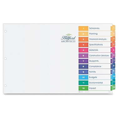 Avery® Ready Index Table of Contents Dividers, Multicolour, 12-Tab Set