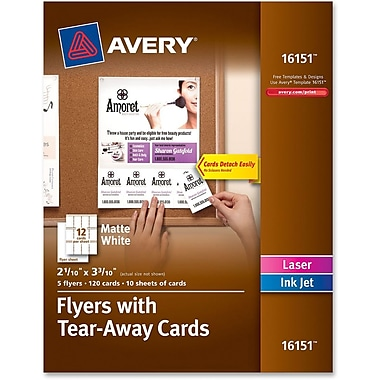 Avery® Custom Print Flyers with Tear-away Cards, 120/Pack