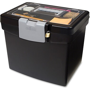 Storex Portable Stacking File Box with Top Organizer, 13-1/2