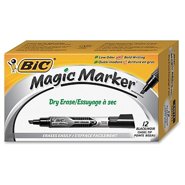 Bic Chisel Tip Dry Erase Magic Markers, Black, 12/Pack