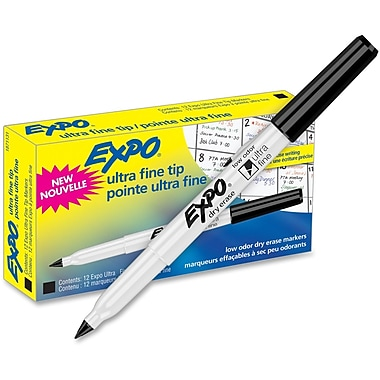 Sanford Expo Dry Erase Markers, Ultra Fine Point, Black, 12/Pack