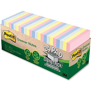 Post-it® Greener Notes 75-Sheet Assorted Cabinet Pack, 3