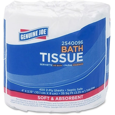 Genuine Joe 2-Ply 400-Sheet Standard Bath Tissue Rolls, 96 Rolls/Pack