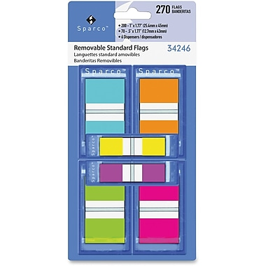 Sparco Assorted Pop-Up Flags Combo Pack, Assorted Colours, 270/Pack