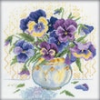 """RTO M053 Multicolor 9"""" x 9"""" Pansies Counted Cross Stitch Kit"""