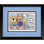 "Dimensions 6931 Multicolor 5"" x 7"" Paw Prints Mini Stamped Cross Stitch Kit"