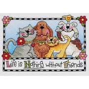 "Dimensions 65101 Multicolor 7"" x 5"" Life Is Nothing Without Friends Mini Stamped Cross Stitch Kit"