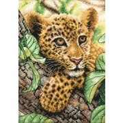 "Dimensions 70-65118 Multicolor 7"" x 5"" Gold Petite Leopard Cub Counted Cross Stitch Kit"