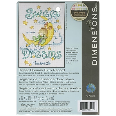 """""Dimensions 70-73923 White 7"""""""" x 5"""""""" Sweet Dreams Birth Record Counted Cross Stitch Kit"""""" 1579537"
