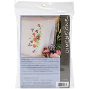 "Dimensions 72-74063 White 30"" x 20"" Hummingbirds Stamped Cross Stitch Pillowcase, 2/Pack"