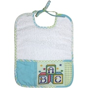 "DMC BB3700EA-4603 Green and Blue 10.5"" x 8.5"" Patchwork Terry Cloth Bib 14 Count"