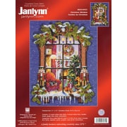 """Janlynn 23-0431 Multicolor 14"""" x 11"""" Christmas Window Picture Counted Cross Stitch Kit"""
