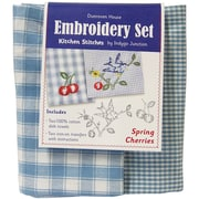 "Dunroven House 200-102 Blue/White Check 28"" x 20"" Spring Cherries Kitchen Stitches Embroidery Set, 2/Set"