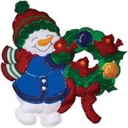 "Tobin DW5189 Multicolor 16"" x 17"" Snowman & Cardinals Wall Hanging Felt Applique Kit"