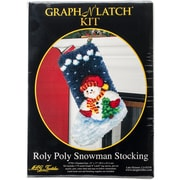 """M C G Textiles 37783 Multicolor 17"""" x 12"""" Roly Poly Snowman Christmas Stocking Latch Hook Kit"""