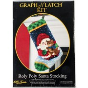 """M C G Textiles 37784 Multicolor 17"""" x 12"""" Roly Poly Santa Christmas Stocking Latch Hook Kit"""