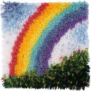 "Wonderart 429102 Multicolor 12"" x 12"" Latch Hook Kit with Tool, Rainbow"