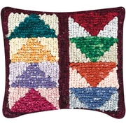 "M C G Textiles 38536 Multicolor 12.5"" x 14"" Quilt Mates Locker Hook Pillow Kit, Flying Geese"