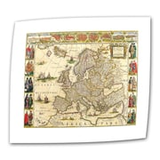 ArtWall Antique Maps 'Map of Europe' by Willem Blaeu Graphic Art Canvas; 16'' H x 22'' W
